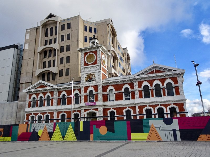The Chief Post Office building (no longer a post office) survived on Cathederal square with minimal earthquake damage.