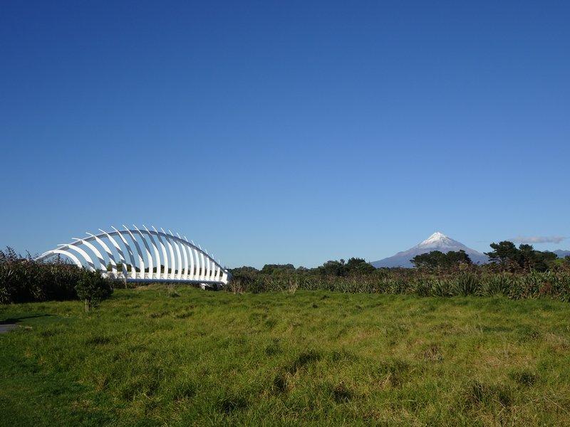 The Te Rewa Rewa Bridge is said to resemble a whale skeleton or a breaking wave.