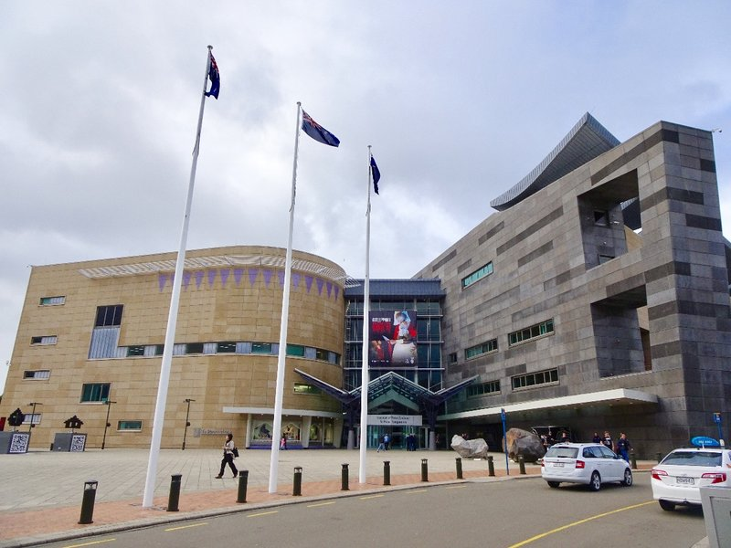 """Te Papa means """"our place."""" This impressive building was completed in 1998; it has a south Pākeha (European) face and a north (Maori) face."""