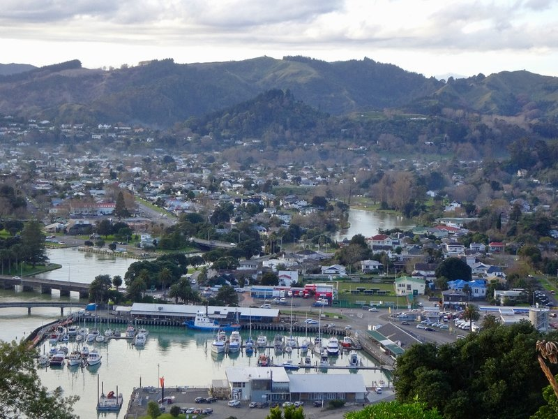 The town of Gisborne as viewed from Kaiti Hill. There are three rivers that meet here, and eventually flow out into Poverty Bay.