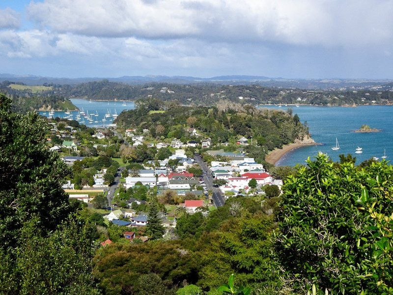 This view from Flagstaff Hill looks over Russell and across the the Bay of Islands toward Paihia.