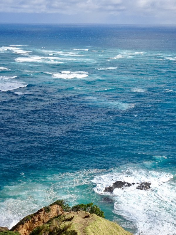 This is the view looking out from the Cape Reinga Lighthouse. The area of turbulence that you can see here is created by the colliding of the Tasman Sea on the left and the Pacific Ocean on the right.