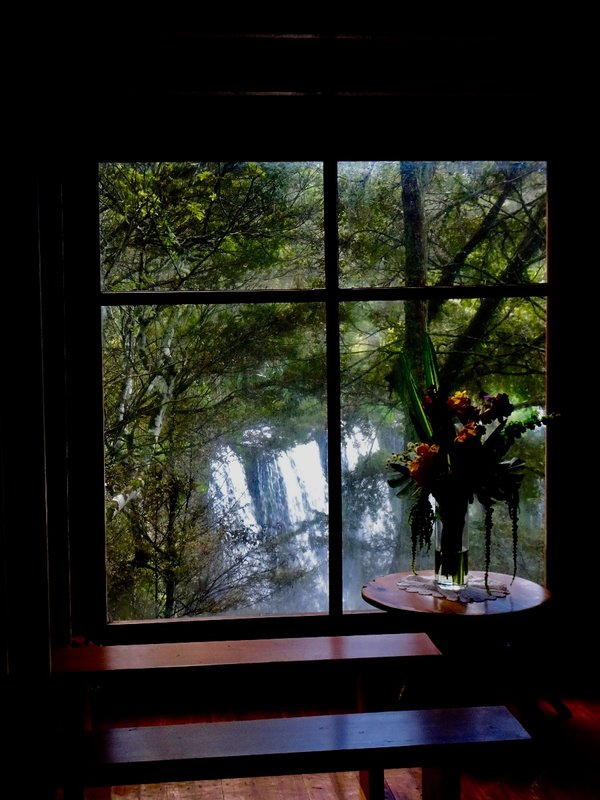 The view from inside the Waterfall Chapel, looking out at the waterfall.