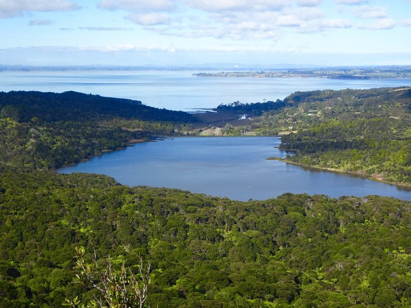 This view from the Arataki Visitors Center looks over Lower Nihotupu Reservoir and Symonds Bay.