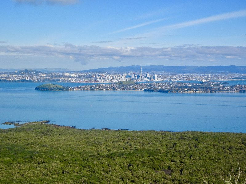 From the summit, this is the view of Devonport in the foreground and the Auckland skyline in the background.
