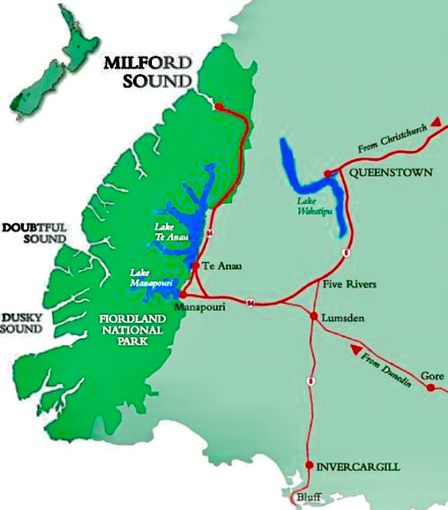 A map of Fiordland NP.