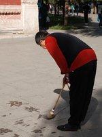 Beijing - Calligrapher practising characters, Beihai Park