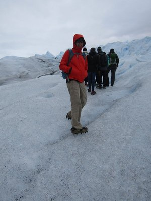 Hiking with crampons on the glacier