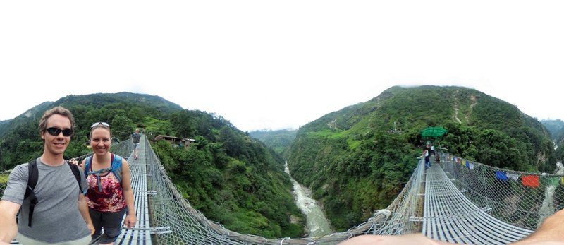 On the suspension bridge near the resort
