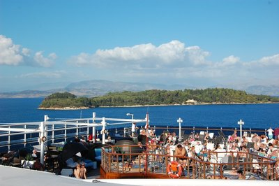 Corfu from top deck of ship