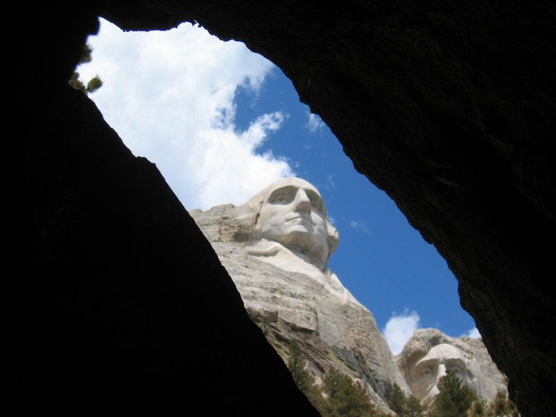 Mount Rushmore from a unique angle