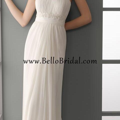 Bellobridal Modern Summer Simple Empire Column Wedding Dress