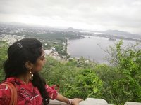 The view of Lake Fateh Sagar from height of Nimach Temle, Udaipur
