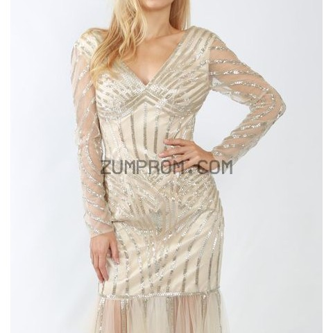 zumprom com Style J001 Long Sleeved Sequin Gown By Mishel Couture