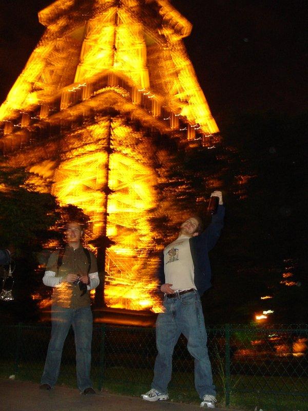 pounding vino at the eiffel tower