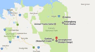 Kakadu Map showing places to visit