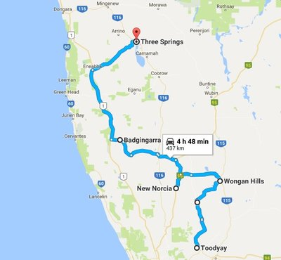 Toodyay to Three Springs Map