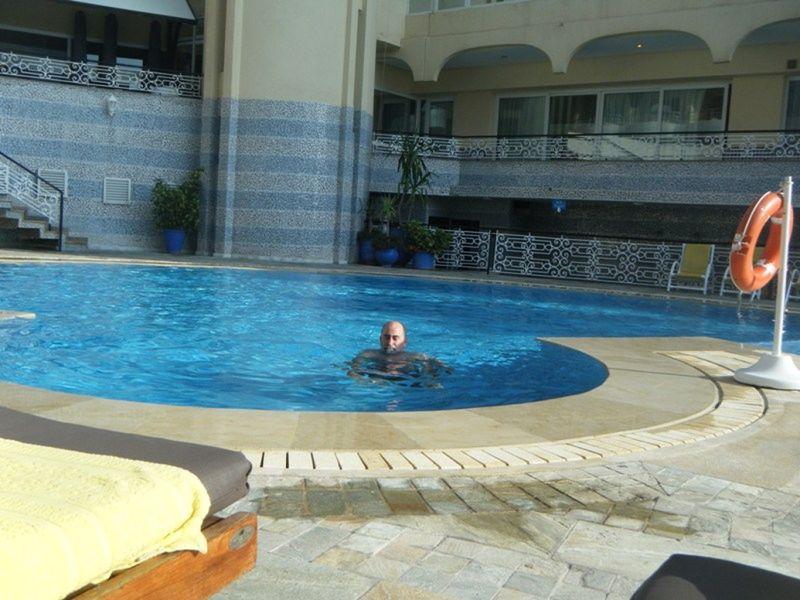 Howie relaxing in our Hotel pool in Casablanca