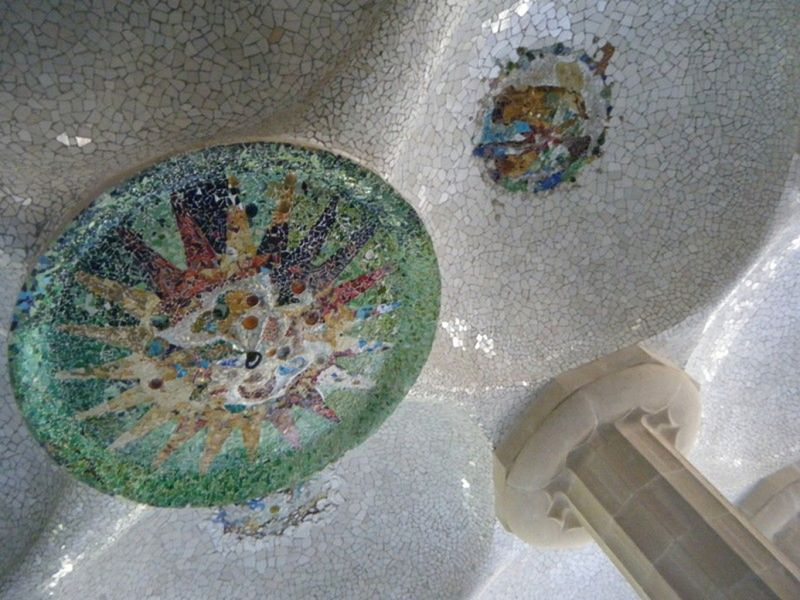 Parc de Guell tilework on the ceiling - Barcelona