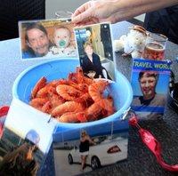 VAs enjoying fresh prawns Cooktown