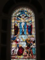 Stained glass window at the altar