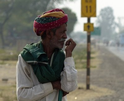 Camel herder on the road to Jaipur