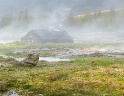 Steam and hot pools at Geysir