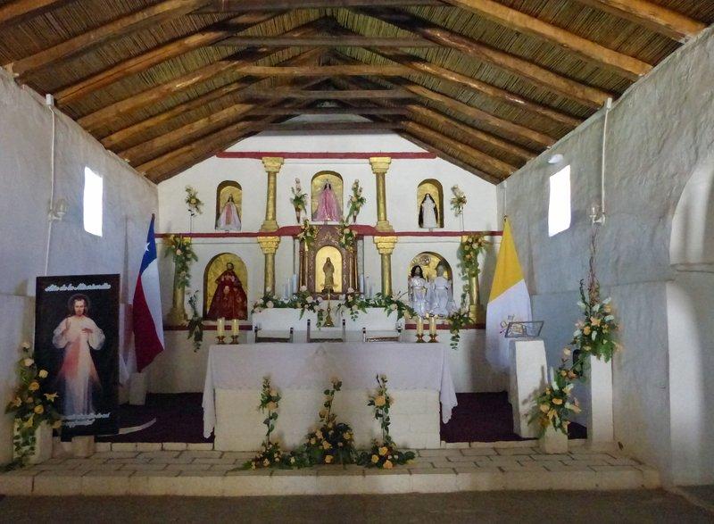 Inside the church, Toconao, Atacama Desert