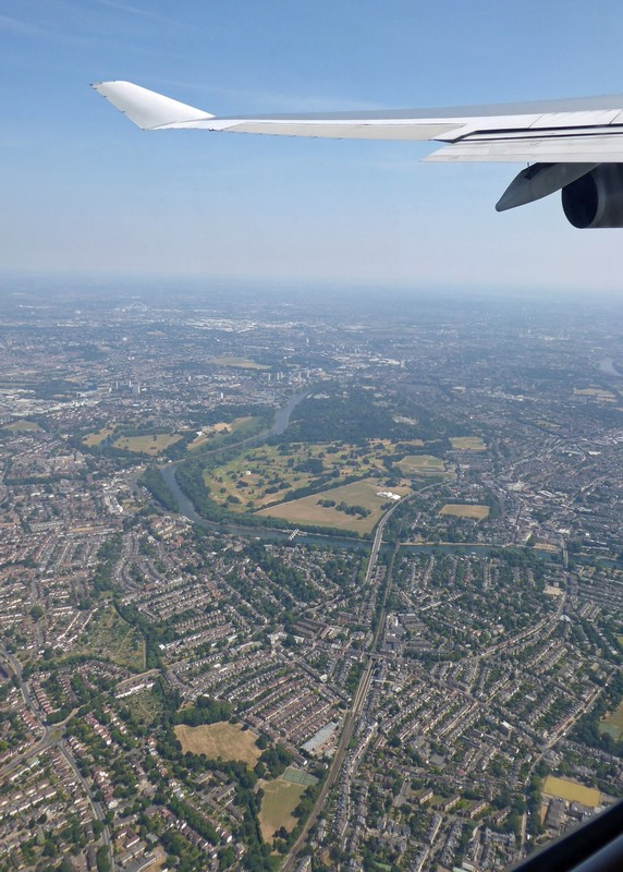 Flying over west London