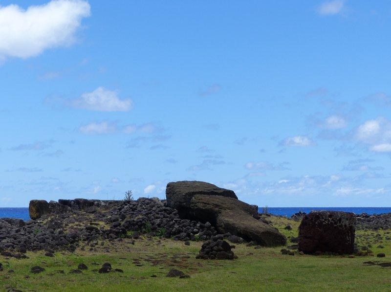 Toppled moai at Te Pito Kura, Rapa Nui