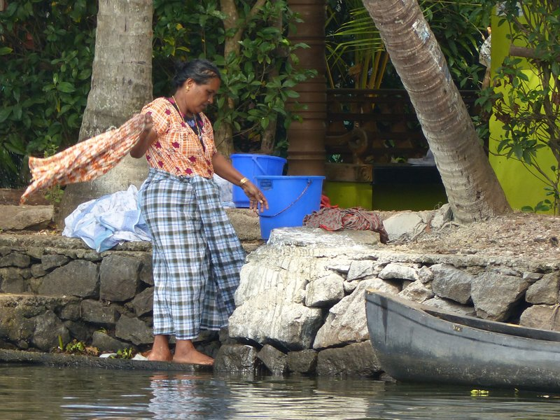 Washing clothes, Kerala backwaters