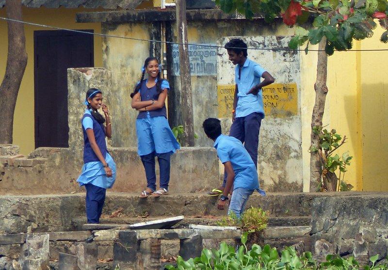 School children, Kerala backwaters