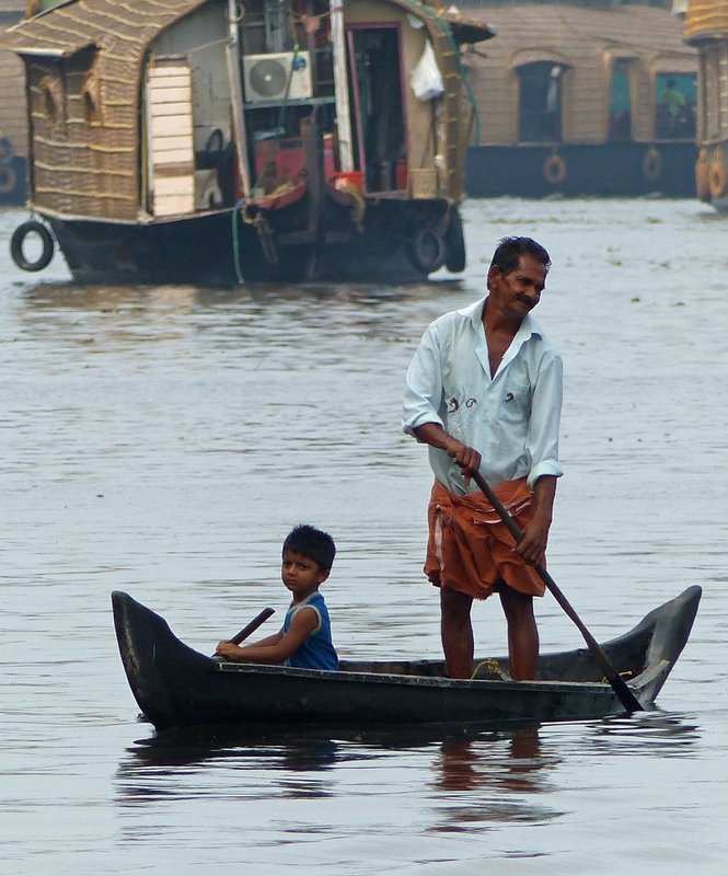 Father and son, Kerala backwaters