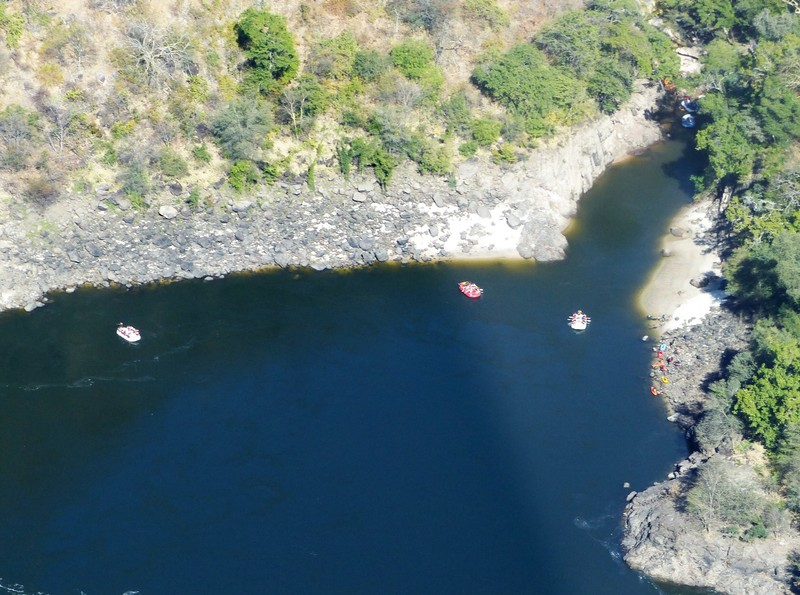 Helicopter flight above Victoria Falls - rafters in Batoka Gorge