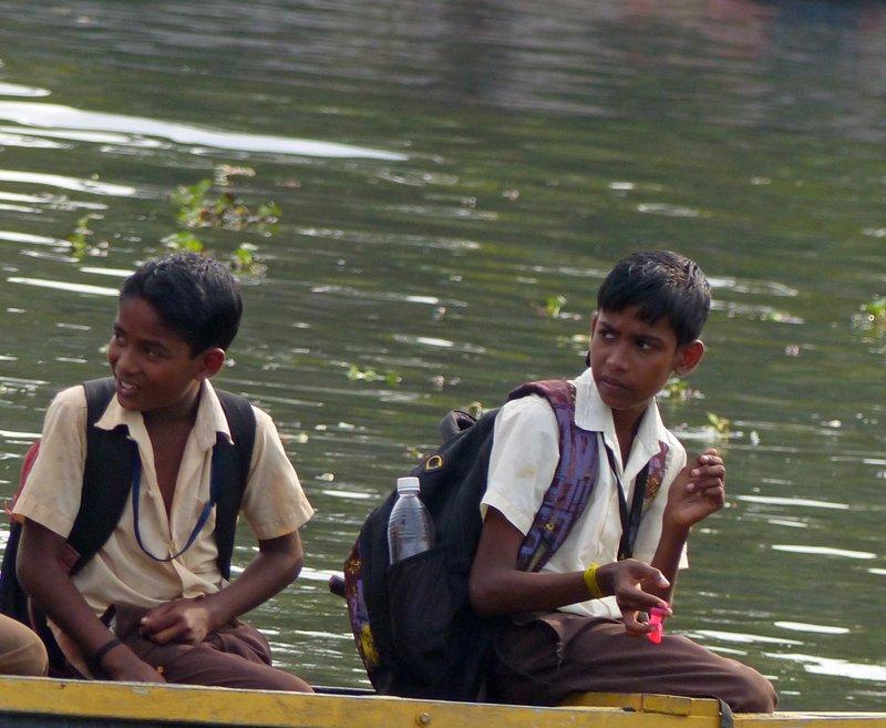 Travelling hme from school, Kerala backwaters