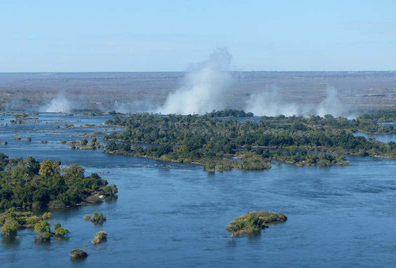 Helicopter flight above Victoria Falls - the Zambezi above the falls