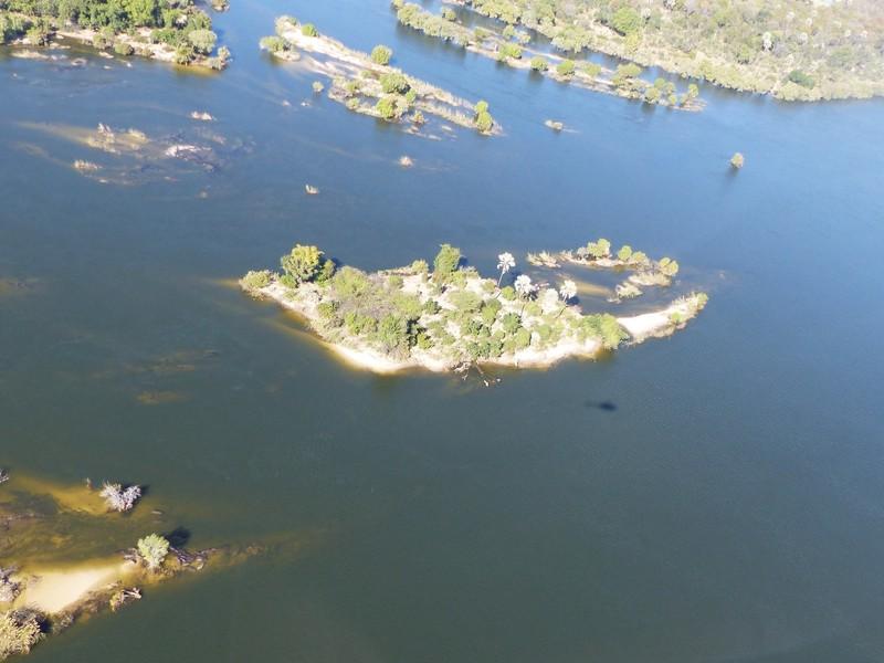 Helicopter flight above Victoria Falls - the Zambezi above the falls
