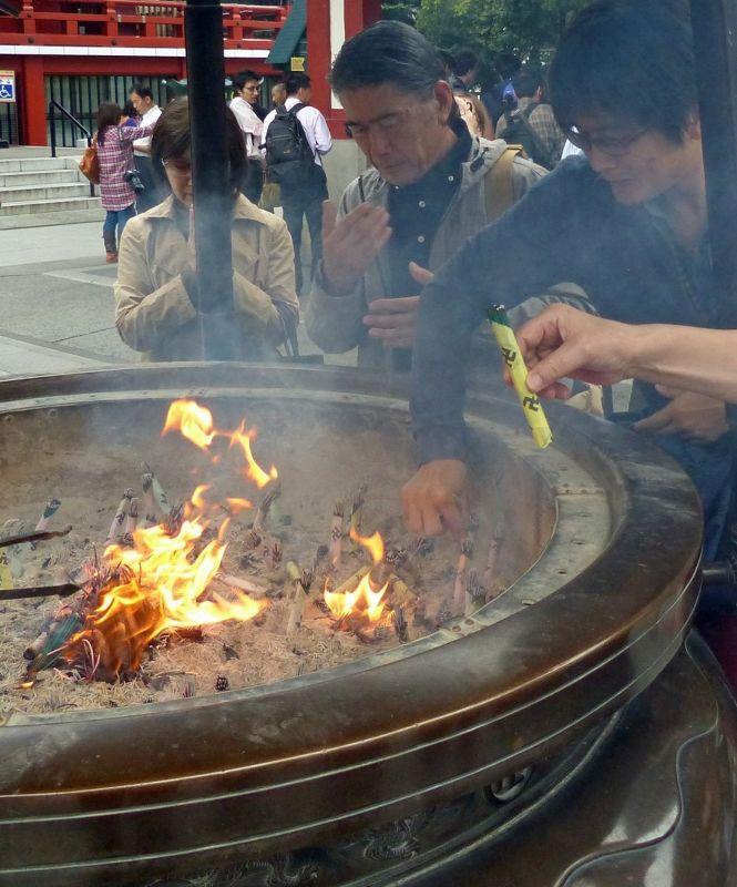 Burning incense at Senso-Ji, Asakusa, Tokyo