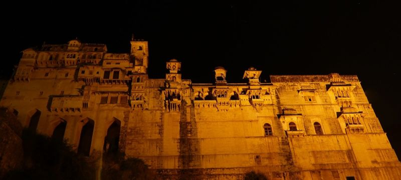 Palace at night from Bundi Vilas haveli