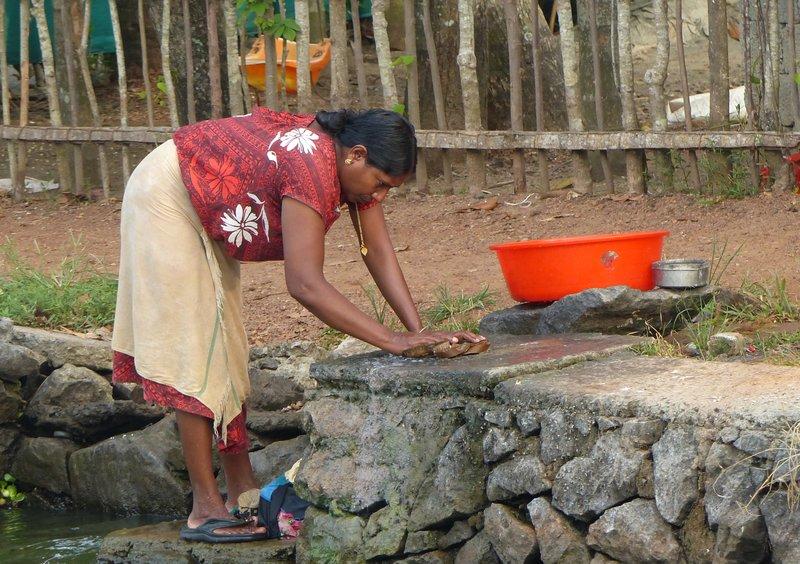 Washing clothes, Kerala backwaters