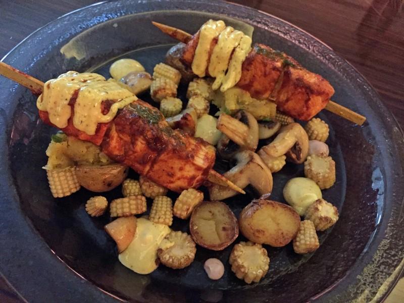 Chicken skewers, Limo restaurant, Bab al Qasr hotel, Abu Dhabi