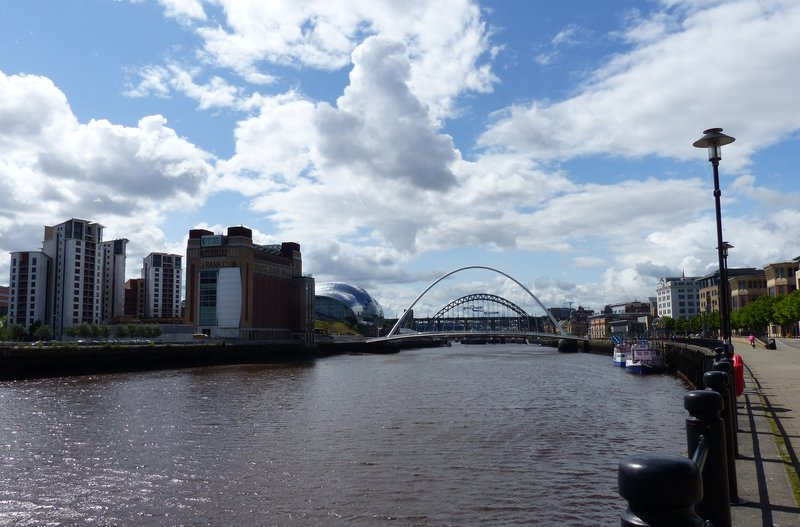 Newcastle and Gateshead from the quayside path to Ouseburn