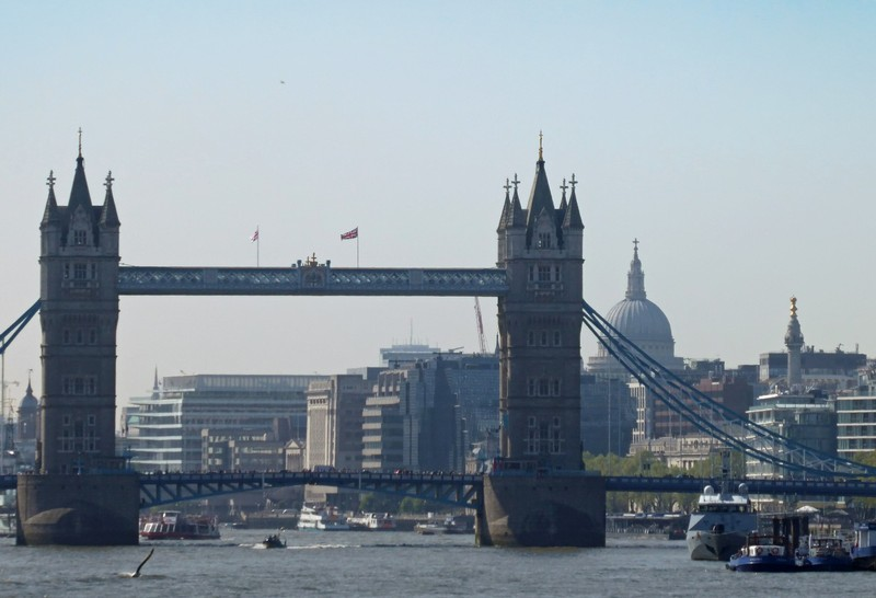 Tower Bridge and St Paul's from Rotherhithe