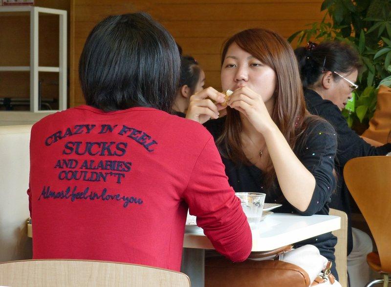 In the Caffe Solaire on Takeshita Dori