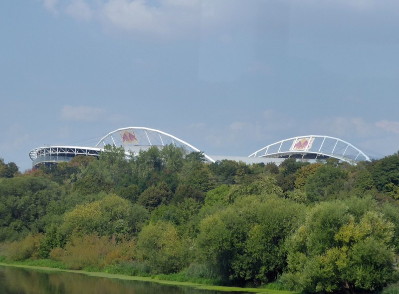 Red Bull Arena, Leipzig, from the tram