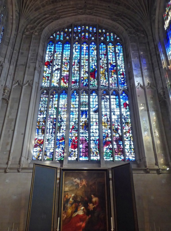 East window and Rubens painting, King's College Chapel, Cambridge