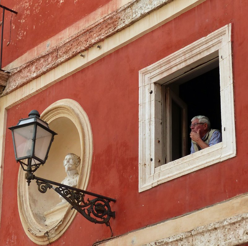 Looking out from the Boncompagni Palace, Piazza Municipio, Arpino