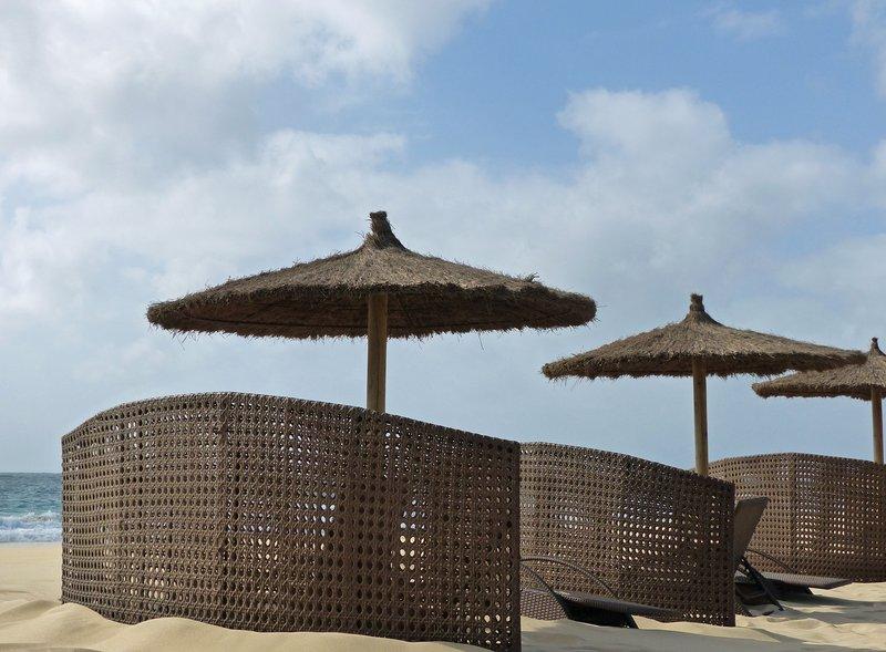 Windbreaks on the beach, near the Hilton on Sal