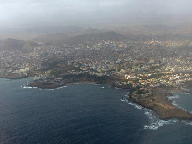 Flying in over Praia