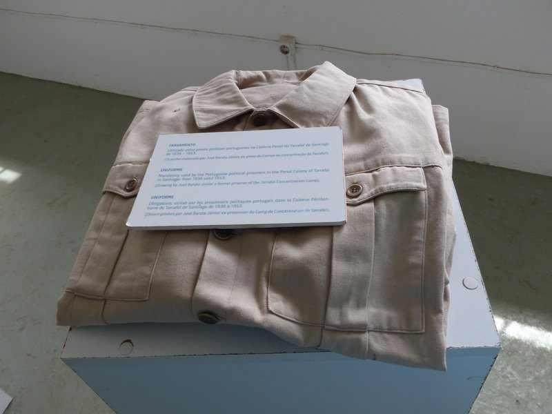 Prison uniform on display at Tarrafal Camp, Santiago, Cape Verde